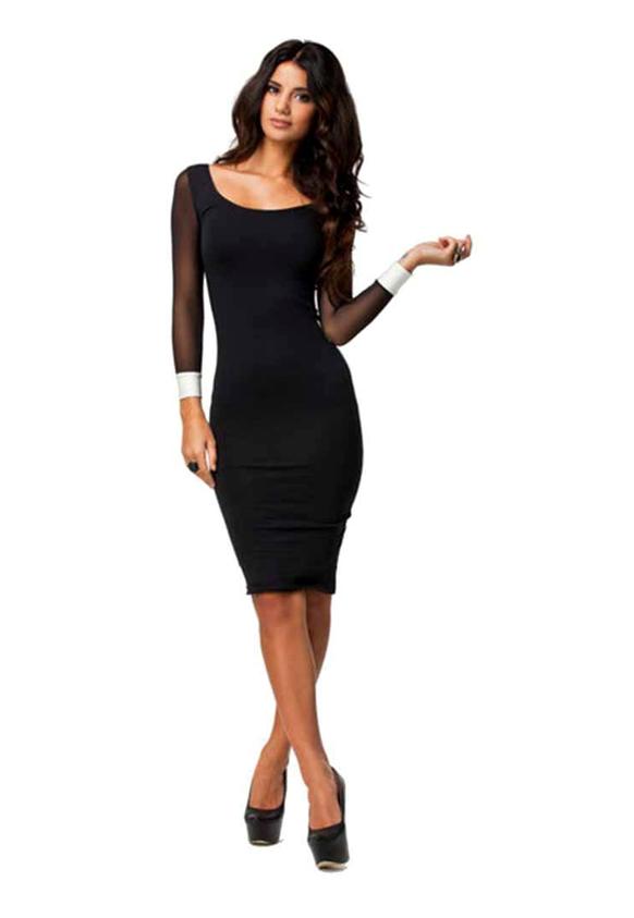 N-Gal Black Colored Solid Shift Dress